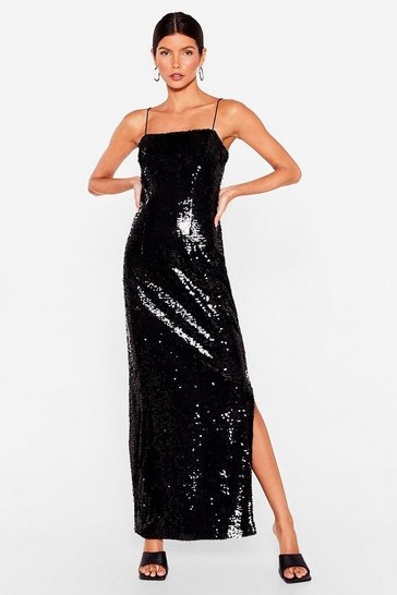 Black Sequin Spaghetti Strap Slit Maxi Dress