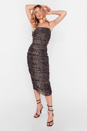 Gold She's a Wild One Leopard Ruched Midi Dress