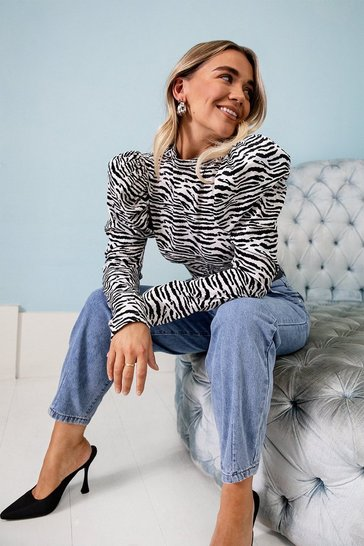 Black Get Wild High Neck Zebra Blouse