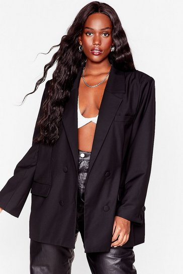 Black Not Our Business Plus Oversized Blazer