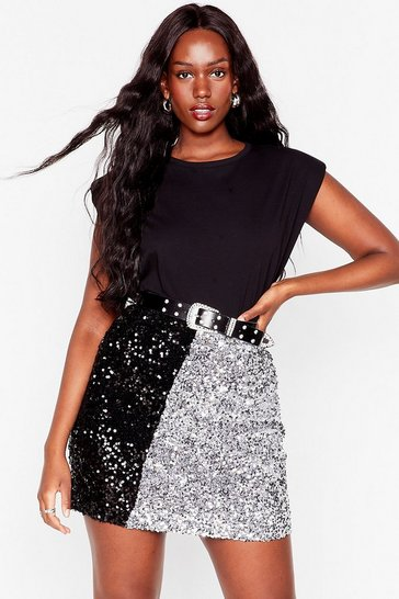 Silver Sequin Us Over Plus Two-Tone Mini Skirt