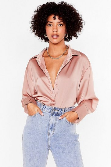 Blush Sleek It Quick Oversized Satin Shirt