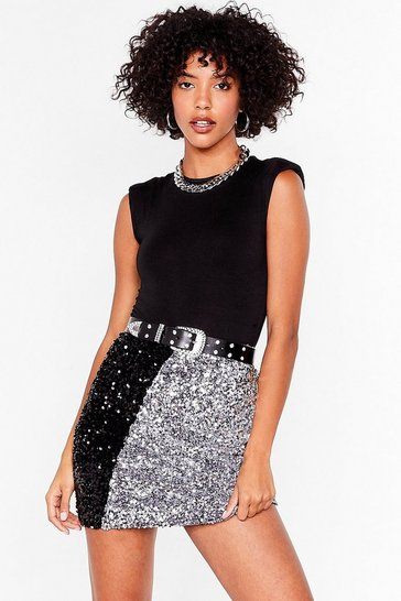 Silver Sequin Us Over Two-Tone Mini Skirt