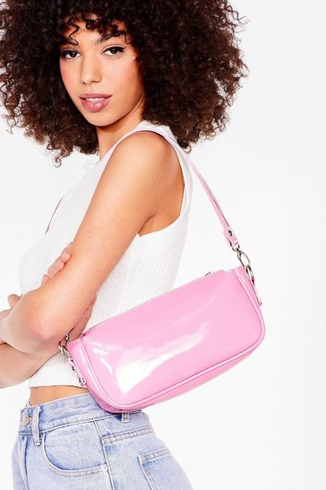 Pink WANT Patent On You Zip Shoulder Bag