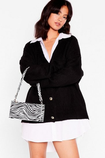 Black WANT Zebra Print Mini Shoulder Bag