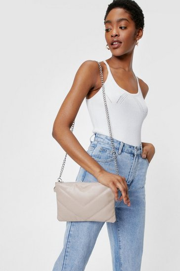 Camel WANT All We Faux Leather Need Crossbody Bag