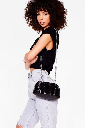 Black Hey Let's Hang Faux Leather Mini Crossbody Bag