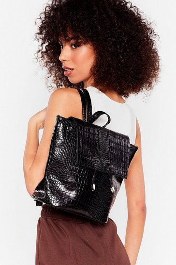 Black Patent Faux Leather Croc Embossed Backpack