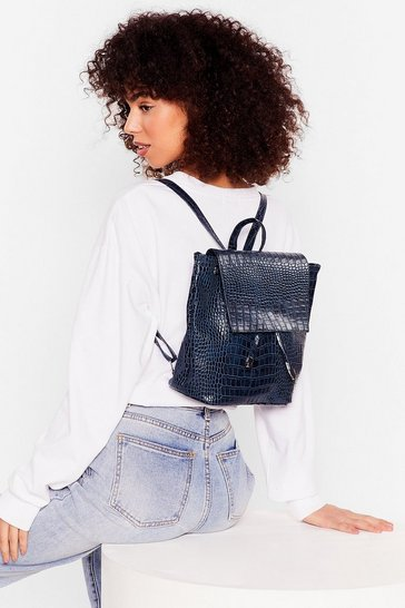 Navy WANT Go Croc Yourself Faux Leather Backpack