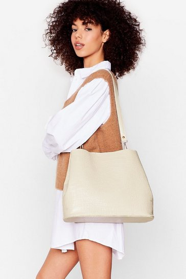 Stone WANT Croc Tote Bag And Pouch Set