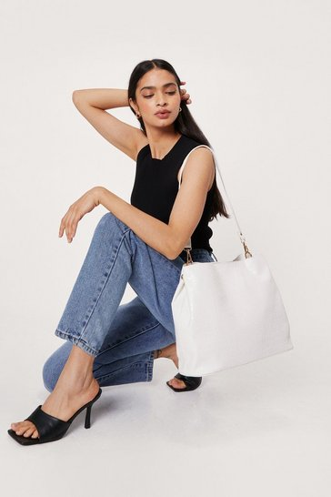 White WANT Oh Croc a Feelin' Tote Bag and Pouch Set