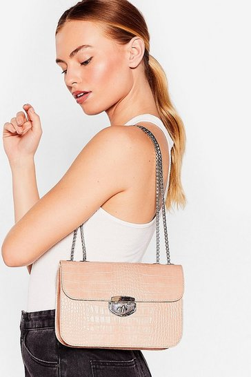 Nude WANT Hey Croc's Up Faux Leather Shoulder Bag