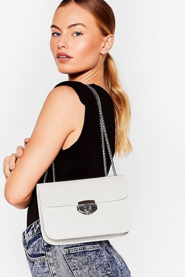 White WANT Hey Croc's Up Faux Leather Shoulder Bag