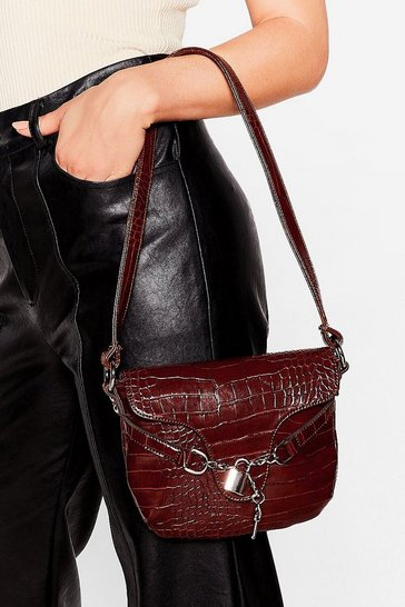 Chocolate WANT Croc's Going On Faux Leather Shoulder Bag