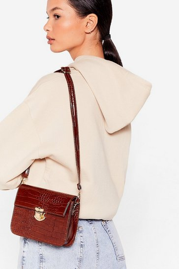 Chocolate WANT Croc Right Now Crossbody Bag