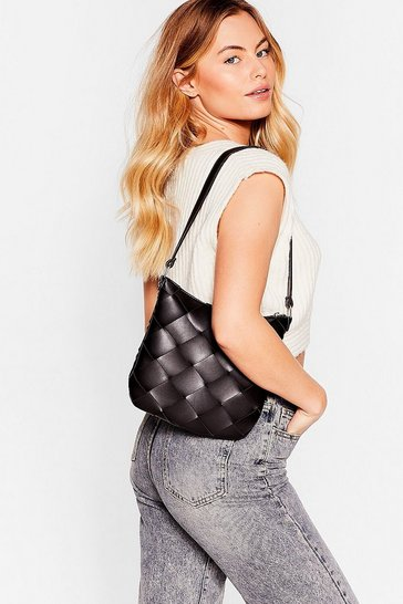 Black WANT A Woven Success Faux Leather Shoulder Bag