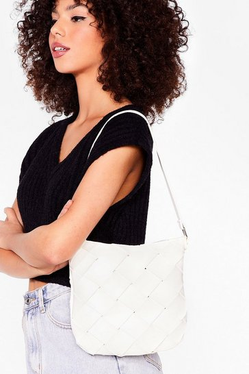 White WANT A Woven Success Faux Leather Shoulder Bag