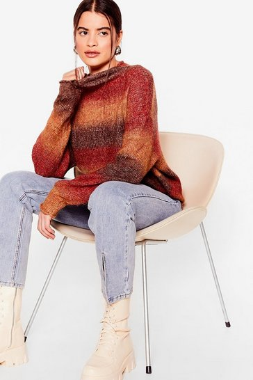 Rust Some Stripe of Love Knit High Neck Sweater
