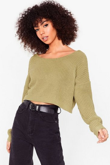 Olive Let Knit Be Cropped Sweater