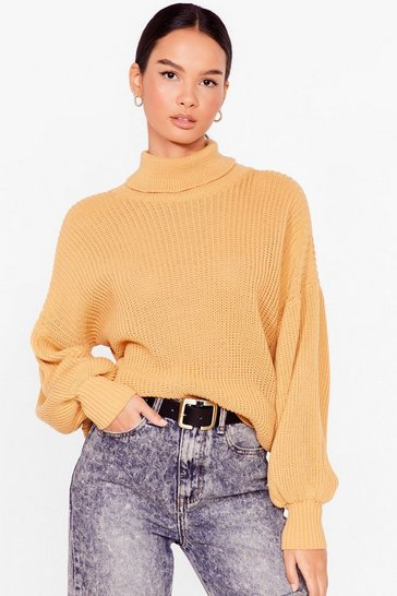 Camel Let's Roll Knitted Balloon Sleeve Sweater
