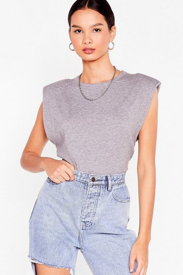 Grey Power Hour Shoulder Pad Knitted Tank Top