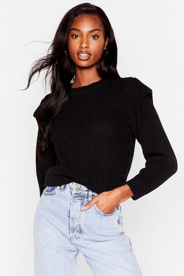 Black Good Meets Shoulder Pad Knitted Crew Neck Sweater
