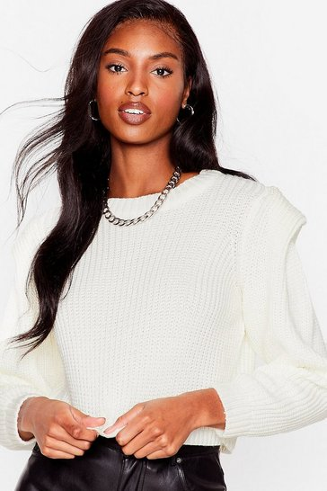 Ivory Good Meets Shoulder Pad Knitted Crew Neck Sweater