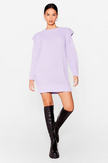 Lilac Let Knit Happen Shoulder Pad Sweater Dress