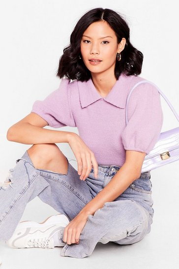 Lilac Collar Puff Sleeve Knit Sweater
