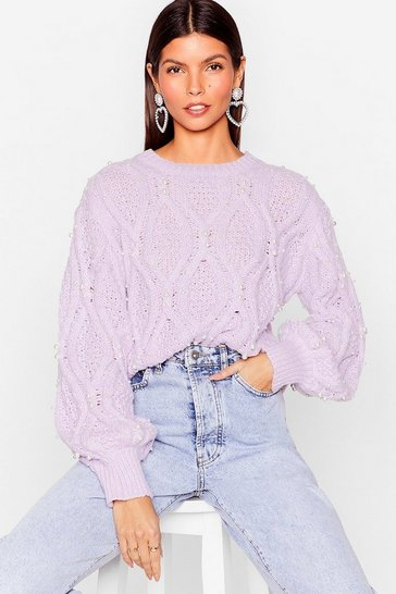 Lilac Pearl After Our Own Heart Cable Knit Jumper