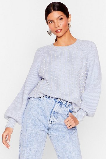 Blue Do Knit Your Way Pearl-Inspired Relaxed Sweater