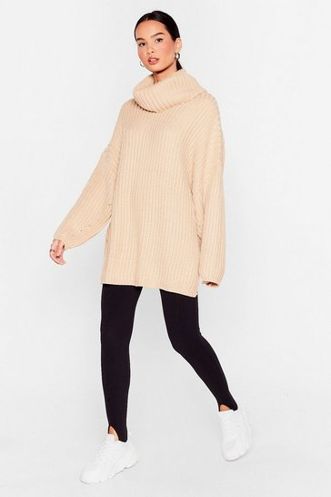 Stone Whatever Knit Takes Oversized Turtleneck Sweater