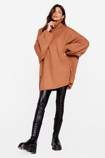 Toffee Whatever Knit Takes Oversized Turtleneck Sweater