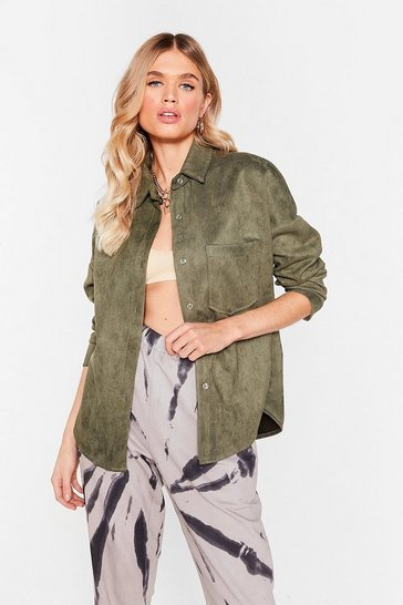 Khaki My Minds Faux Suede Up Relaxed Shirt