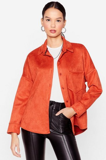 Orange My Minds Faux Suede Up Relaxed Shirt