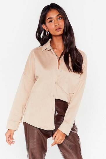 Stone My Minds Faux Suede Up Relaxed Shirt