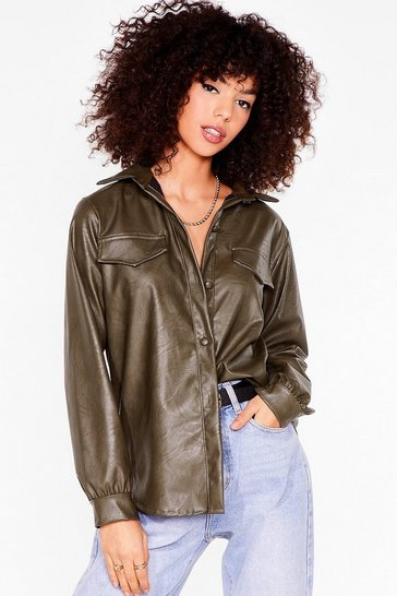 Sage Casual Faux Leather Shirt