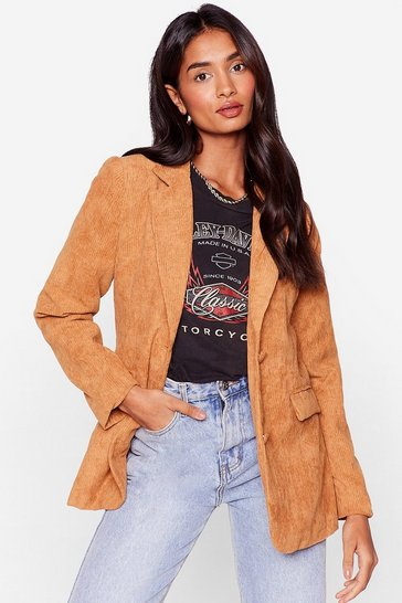 Tan All On Cord-uroy Relaxed Blazer