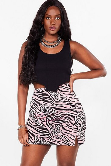 Pink It's Gonna Be a Wild Night Zebra Mini Skirt