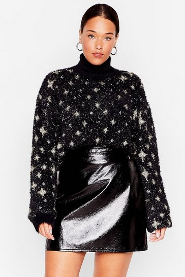 Black Wishing On a Star Plus Fluffy Knit Sweater
