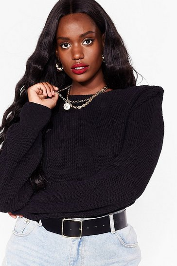 Black Plus Size Shoulder Padded Knit Sweater