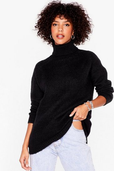 Black Knit's Anyones Game Oversized Turtleneck Sweater