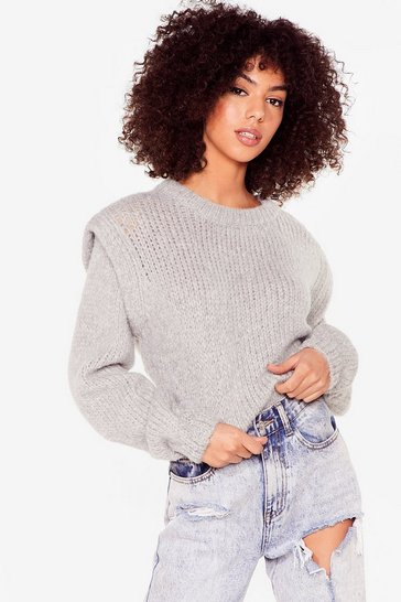 Grey Good Meets Shoulder Pad Knitted Crew Neck Sweater