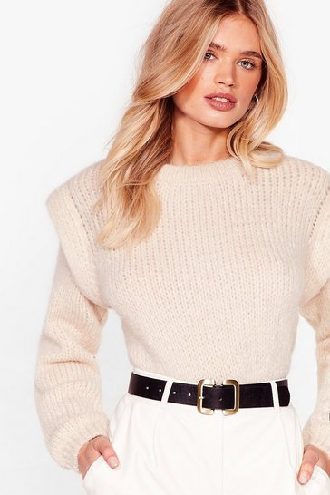 Oatmeal Good Meets Shoulder Pad Knitted Crew Neck Sweater