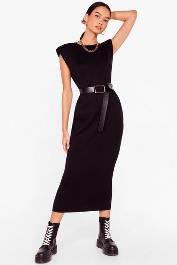 Black Spit Knit Out Shoulder Padded Midi Dress