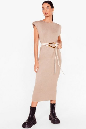 Mushroom Spit Knit Out Shoulder Padded Midi Dress