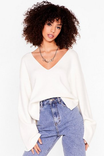 Ivory Where is V Love Knitted Relaxed Sweater