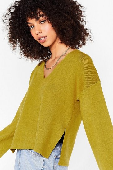 Olive Knitted V Neck Split Hem Sweater