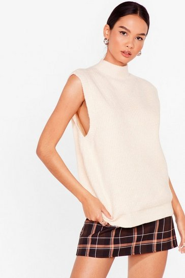 Cream Knitted Sleeveless High Neck Vest Top