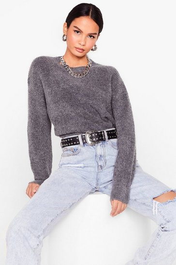 Charcoal We're Keeping Knit Quick Fluffy Relaxed Sweater